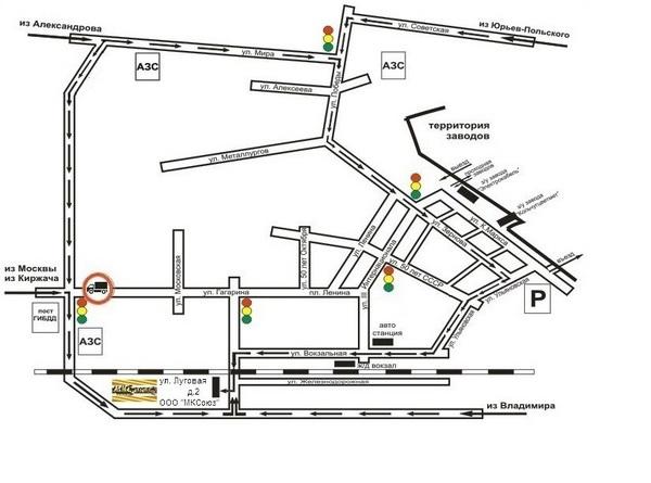 Карта проезда по г. Кольчугино